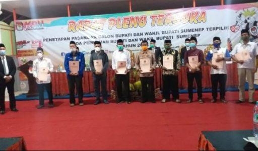 Rapat Pleno Terbuka, KPU Sumenep Tetapkan Pasangan Achmad Fauzi-Dewi Khalifah Bupati Sumenep