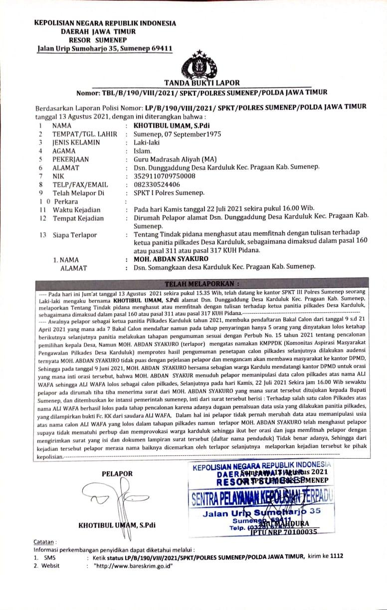 Dugaan Pencemaran Nama Baik oleh KAMPPDK Kepada Panitia Pilkades Karduluk Akhirnya Berujung Laporan ke Polisi